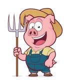 Fazendeiro de porco que guarda um ancinho ilustração royalty free