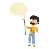 fazendeiro dos desenhos animados com o forcado com bolha do pensamento Foto de Stock Royalty Free