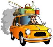 Fazendeiro dos desenhos animados e carro amarelo Imagens de Stock