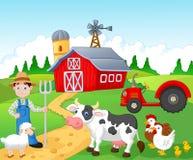 Fazendeiro dos desenhos animados que trabalha na exploração agrícola Fotos de Stock