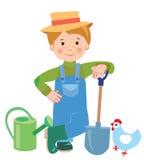 Fazendeiro dos jovens dos desenhos animados Lata molhando shovel Fazendeiro ilustração royalty free
