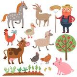 Fazendeiro e animais Exploração agrícola Grupo do vetor de caráteres Fotografia de Stock