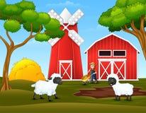 Fazendeiro e carneiros felizes dos desenhos animados na explora??o agr?cola ilustração royalty free