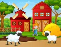 Fazendeiro e carneiros pequenos felizes na exploração agrícola ilustração stock