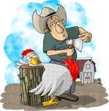 Fazendeiro e galinha Imagem de Stock Royalty Free
