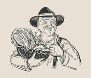 Fazendeiro e legumes frescos esboço Vetor Imagem de Stock
