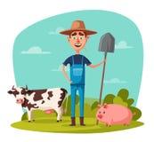 Fazendeiro engraçado Ilustração do vetor dos desenhos animados Imagens de Stock Royalty Free