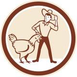 Fazendeiro Feeder Circle Cartoon da galinha ilustração royalty free