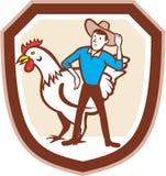 Fazendeiro Feeder Shield Cartoon da galinha Imagem de Stock Royalty Free