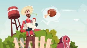 Fazendeiro Hold Chicken Breeding Hen For Food Farm ilustração stock