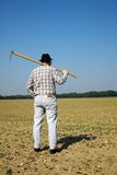 Fazendeiro no campo com plantas novas Fotografia de Stock Royalty Free