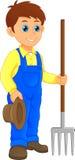 Fazendeiro novo dos desenhos animados que guarda o ancinho ilustração do vetor