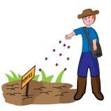 Fazendeiro novo Seeding Love Seeds ilustração do vetor