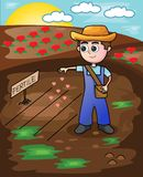 Fazendeiro pequeno Seeding Love Seeds ilustração stock