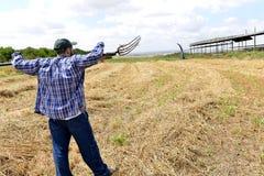 Fazendeiro que guarda uma forquilha e que olha em seu campo Imagens de Stock