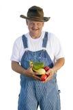 Fazendeiro que prende vegetais orgânicos Imagem de Stock