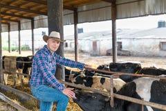 Fazendeiro que trabalha na exploração agrícola com vacas de leiteria Fotos de Stock Royalty Free