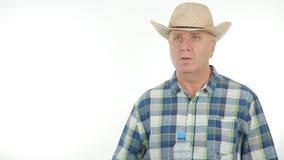 Fazendeiro seguro Image In uma entrevista agrícola fotos de stock royalty free
