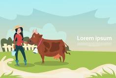 Fazendeiro Woman With Cow Eco que cultiva a produção ilustração do vetor