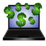Fazendo a dinheiro o computador em linha ilustração stock