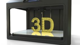 Fazendo letras volumétricos douradas com uma impressora 3D, metal que imprime a rendição 3D Fotos de Stock Royalty Free