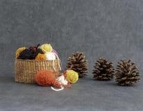 Fazendo malha ou fazer crochê a imagem da queda Uma decoração da queda com as bolas das lãs em uma cesta e em cones do pinho imagens de stock