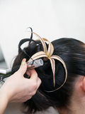 Fazendo noite a mulher coiffure Foto de Stock Royalty Free