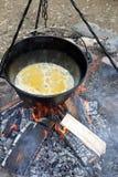 Fazendo o alimento no fogo do acampamento Fotografia de Stock Royalty Free