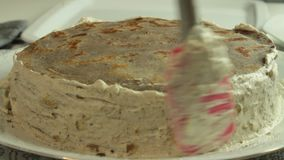 Fazendo o creme para a receita do bolo do crepe video estoque
