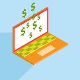 Fazendo o dinheiro com portátil Imagens de Stock
