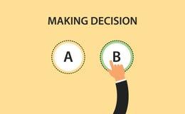Fazendo o símbolo do conceito da decisão com dois opção a e b com mão escolha um dele Imagens de Stock
