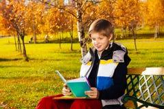Fazendo trabalhos de casa no parque do outono Fotografia de Stock Royalty Free