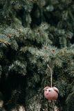Fazer crochê a cabeça cor-de-rosa do porco na árvore de Natal imagens de stock royalty free