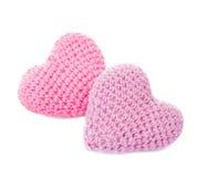 Fazer crochê corações bonitos Foto de Stock Royalty Free