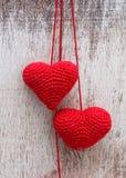 Fazer crochê corações do Valentim Imagens de Stock Royalty Free