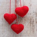 Fazer crochê corações do Valentim Fotografia de Stock Royalty Free