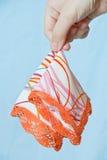 Fazzoletto della stretta della mano della giovane donna Fotografie Stock Libere da Diritti