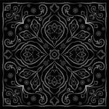 Fazzoletto nero con l'ornamento bianco Fotografie Stock Libere da Diritti