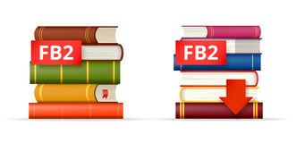 FB2 books stacks  icons. FB2 file format icons, stack of books and download button, vector illustration Stock Photos