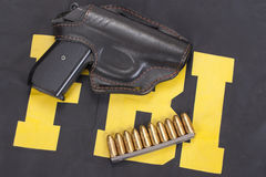 Fbi concept. Handgun, ammo, uniform Royalty Free Stock Image
