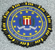 FBI emblem on fallen officers memorial in Brooklyn, NY royalty free stock photo