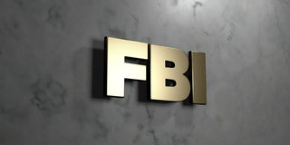 Fbi - Gold sign mounted on glossy marble wall - 3D rendered royalty free stock illustration royalty free stock photography