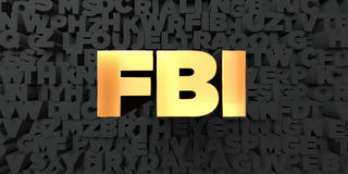 Fbi - Gold text on black background - 3D rendered royalty free stock picture. This image can be used for an online website banner ad or a print postcard Stock Image