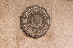 FBI Seal on the front of the FBI Building royalty free stock image