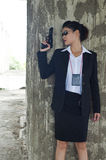 FBI woman agent. FBI woman agent in action Stock Image
