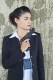 FBI woman agent. FBI woman agent in action Royalty Free Stock Image