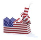 Fábrica americana con la chimenea anudada Imágenes de archivo libres de regalías
