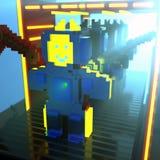 fábrica de robô do voxel 3d Imagem de Stock