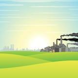 Fábrica química en prado verde Imágenes de archivo libres de regalías