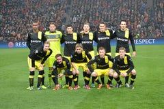 FC多特蒙德足球俱乐部在冠军同盟的符合之前合作 库存照片
